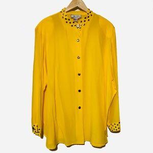 Plus Sz 2X Diane Gilman Silk top blouse button